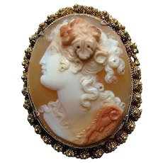 Antique Georgian Carved Shell Cameo 18k Gold Brooch - Bacchante with Ram's Head