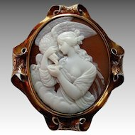 Antique Victorian Carved Shell Cameo 15k Gold Brooch - Hebe Feeding the Eagle of Zeus