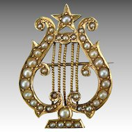 Antique Victorian / Edwardian 18k Gold and Seed Pearl Lyre Brooch