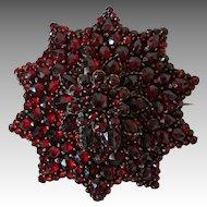 "LARGE 1 3/4"" Victorian Bohemian Garnet Star Cluster Brooch c1890"