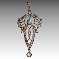 Beautiful Antique Belle Epoque Silver and Paste Pendant circa 1910