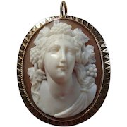 Antique Victorian Front Facing Bacchante Carved Shell Cameo Brooch or Pendant
