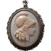 Antique Italian 800 Silver and Carved Pink Conch Shell Cameo of Athena, Brooch or Pendant circa 1910