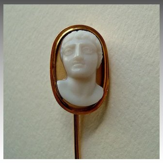 Superb Rare c1800 Onyx Cameo of Young Greek or Roman Male 18k Gold Stick Pin