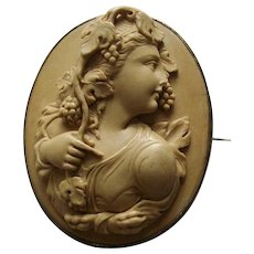 Victorian High Relief Lava Cameo Brooch of a Bacchante or Maenad