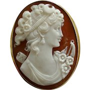 Vintage 18k Gold Italian Carved Shell Diana Cameo, Pendant or Brooch Signed