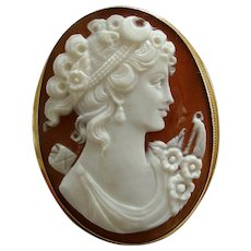 Vintage 18k Gold Italian Carved Shell Diana Cameo, Pendant or Brooch Signed Borriello