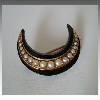 Fine Victorian Carved Onyx Crescent Moon Brooch with Seed Pearls