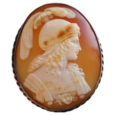 Victorian Signed Carved Shell Cameo of Alcibiades or Alexander the Great after Raphael