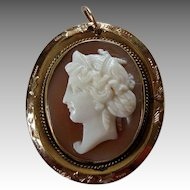 Pretty Victorian Carved Shell Cameo Pendant - Classical Female Head