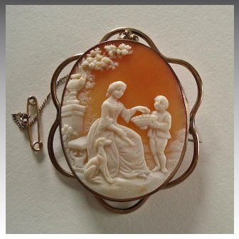 Victorian Carved Shell Cameo Brooch Country Garden Scene with Whippet Dog