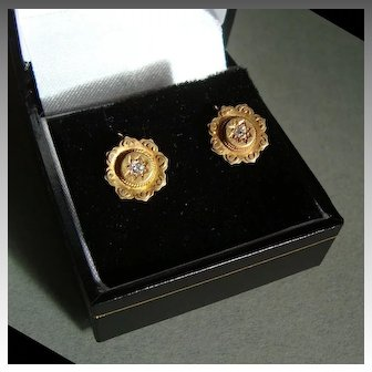 Victorian 15k Gold Earrings with Diamonds
