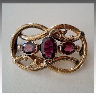 Victorian Three-Stone Garnet Love Knot Brooch