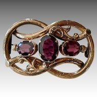 Victorian Three-Stone Garnet Love Knot Brooch