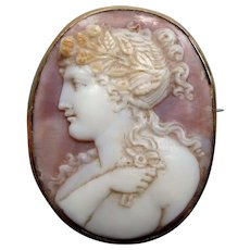 Antique Georgian Carved Shell Cameo Brooch of Flora with Posy