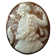 Large Victorian Carved Shell Cameo of Dionysus or Bacchus with Panther Pelt