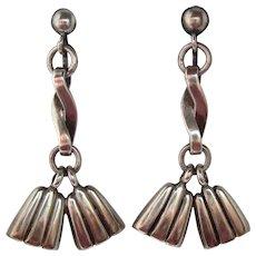 Vintage Mexican Sterling Silver Long Tassel Earrings Signed Reveriano Castillo