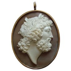 Outstanding Victorian Carved Shell Cameo 18k Gold Pendant  of Zeus / Jupiter