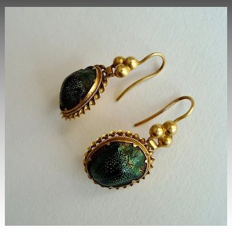 Rare Victorian Egyptian Revival Scarab Drop Earrings