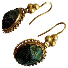 Rare Victorian Egyptian Revival Scarab Drop Earrings
