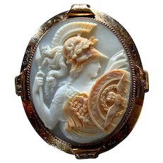 Large Carved Shell Cameo of Athena Minerva 9k Gold Brooch or Pendant