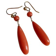 Antique Victorian Coral Dangle / Drop Earrings