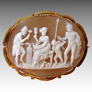 Venus, Cupid and Mars in Vulcan's Forge after Thorvaldsen, Early 19th Century Carved Shell Cameo Brooch