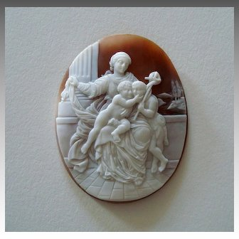 Large Antique Italian Carved Shell Cameo of the Madonna and Child with Saint John the Baptist