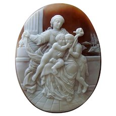 Large Antique Victorian Carved Shell Cameo of the Madonna and Child with Saint John the Baptist