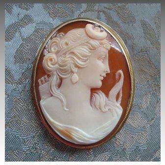 Vintage Diana Goddess Carved Shell Cameo 9K Gold Brooch or Pendant