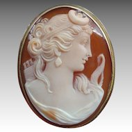 Vintage Diana Goddess Carved Shell Cameo 9K Gold Brooch or Pendant