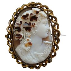 Large Victorian Carved Tricolour Shell Cameo Brooch of Dionysus / Bacchus