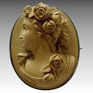 Antique Victorian High-Relief Carved Lava Cameo Brooch Goddess Flora
