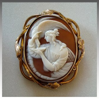 Large Antique Victorian Carved Shell Cameo of Hebe and the Eagle