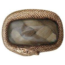 Georgian Ouroboros Snake 9k Gold Memorial or Mourning Hair Locket Brooch c1820