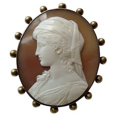 Fine Victorian Carved Shell Cameo brooch, 'The Fair Circassian' after Richard Dean