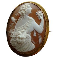 Huge Victorian Carved Shell Cameo Brooch Maenad or Bacchante Signed Michelini