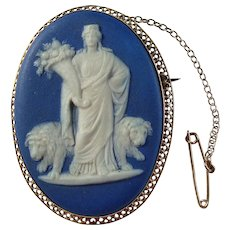 Antique Victorian Cybele and Lions Wedgwood Blue Jasper Dip Cameo 9k Gold Brooch