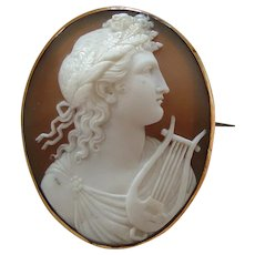 Fine Antique Victorian Carved Shell Cameo of Apollo, God of Music, with Lyre