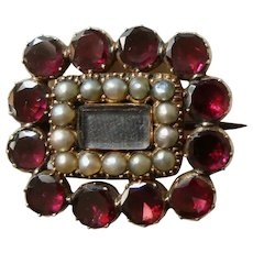 Georgian 14k Gold Garnet and Pearl Mourning Brooch