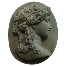 Victorian Lava Cameo of Ariadne, Beautiful High-Relief Carving circa 1850