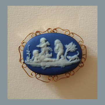 Victorian 9k Gold Wedgwood Blue Jasperware Cameo Brooch Cupids with Dog