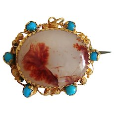 Antique Georgian Dendritic Agate & Turquoise 18k Gold Cannetille Lace Pin Brooch