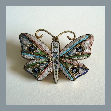 Antique Italian Micro Mosaic Butterfly Brooch