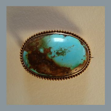 Antique early 1900s Turquoise Cabochon 9k Gold Brooch