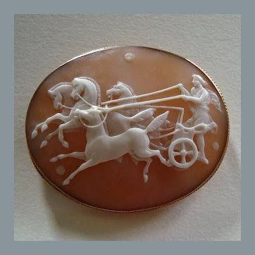 Victorian Carved Shell Cameo of Phaeton and Horses, Chariot Scene set in Later 9k Gold Brooch