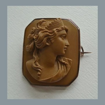 Antique Victorian Carved Lava Cameo Brooch of Classical Greek Female