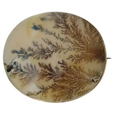 Large Fine Victorian Dendritic Agate 9ct Gold Brooch