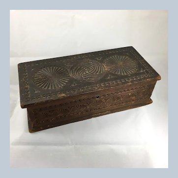 Pinwheel Carved Wooden Glove Box