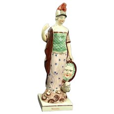 19th Century Staffordshire Pearlware Figure of the Goddess Minerva